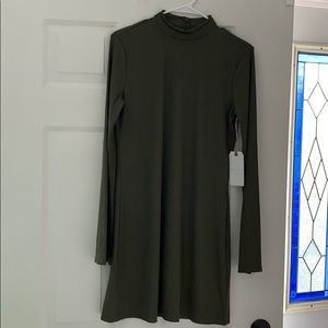 LEITH Mock Neck Mini Dress Ribbed Olive Sarma